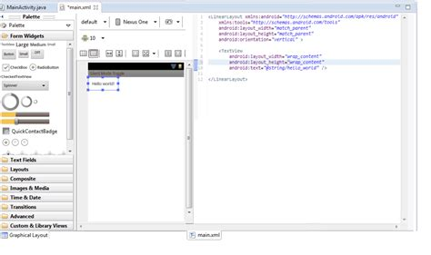 layout xml custom view android is possible to view both graphic layout and