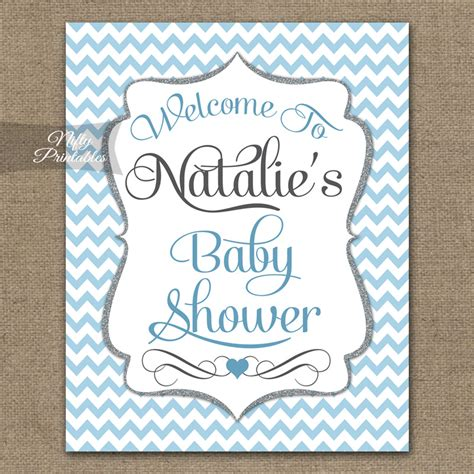 welcome signs for baby shower blue chevron baby shower welcome sign nifty printables