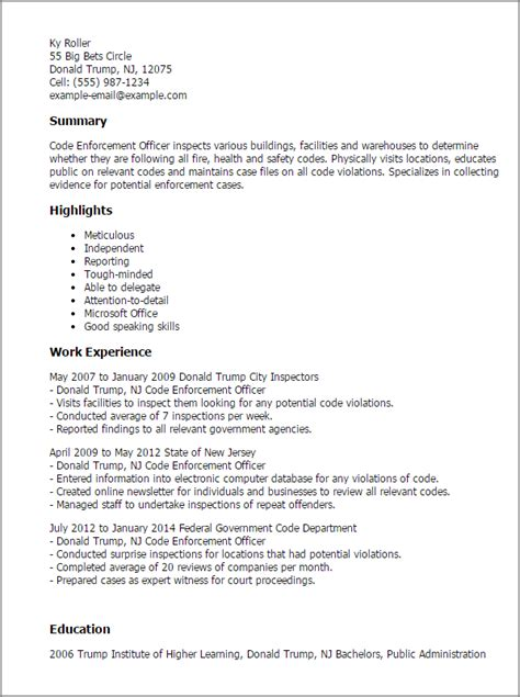 Resume Templates For Enforcement by Professional Code Enforcement Officer Templates To