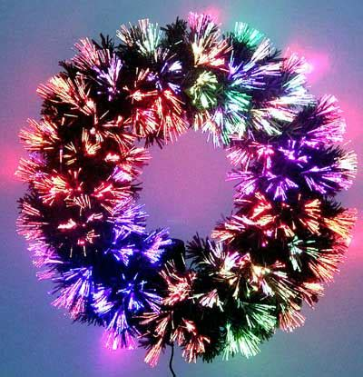 fiber optic christmas wreath going green with l e d artificial trees ledtrees prlog