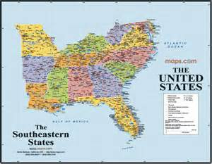 southeast states usa wall map from maps