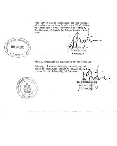 Canada Letter Of Credit personal documents iranian canadian history