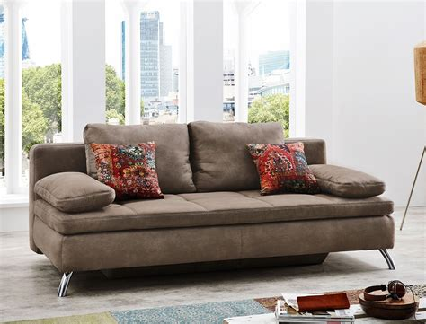 how to have with a couch schlafsofa 203x95 cm mikrofaser hellbraun antiklederoptik