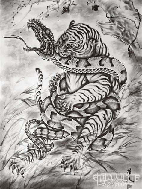 tattoo oriental art japanese art snake vs tiger tattoo artist horiyoshi iii