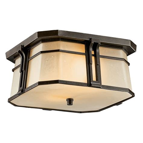 Craftsman Outdoor Light Fixtures by Kichler 49181ozfl Olde Bronze Craftsman Mission Two Light Fluorescent Outdoor Flush Mount