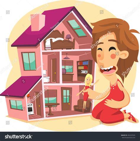 cartoon doll house little girl playing doll house cartoon stock vector