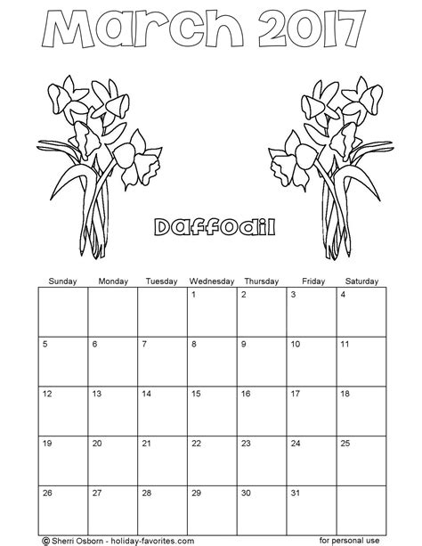 printable calendar coloring pages 2017 printable march 2016 calendarsholiday favorites