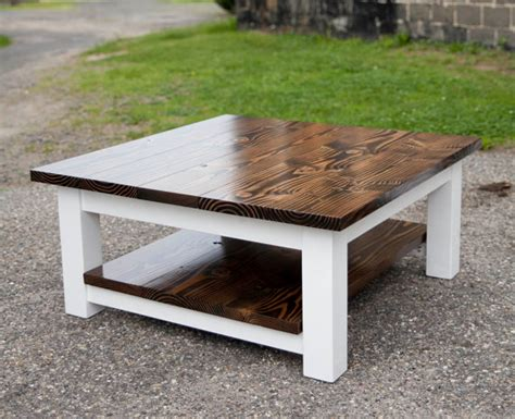 square coffee table with shelf solid wood farmhouse by
