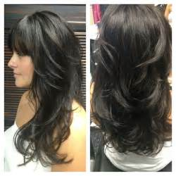 layered hairstyles with bangs for americans that hairs thinning out one of my clients with awesome hair goldwell color line