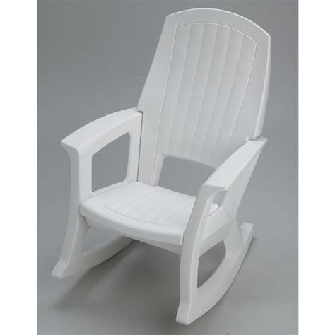 White Plastic Patio Chairs Shop White Plastic Patio Rocking Chair At Lowes