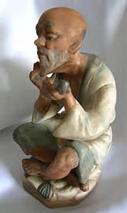 Lefton China Hand Painted Vase Hand Painted Porcelain Sitting Asian Man With A By