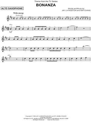 theme music bonanza quot theme from bonanza quot from bonanza sheet music alto