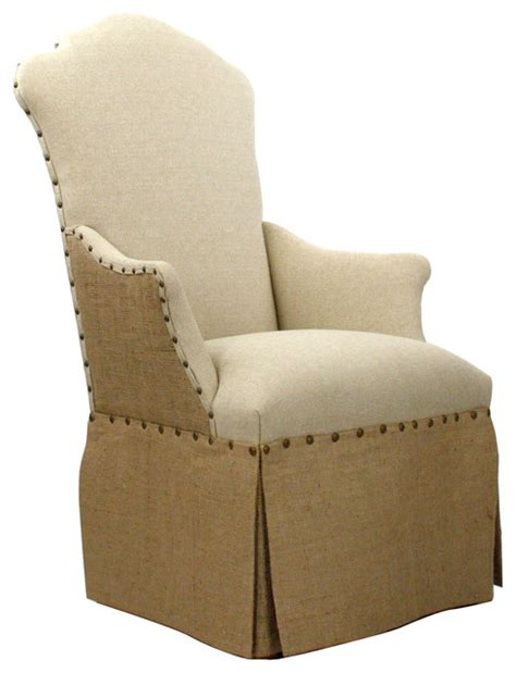Dining Arm Chairs Design Ideas Country Jute Linen Skirted Dining Arm Chair Traditional On Skirted Parsons Dining Room