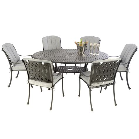 Cast aluminium 170 oval table with 6 venetian chairs black with full cushions and free parasol