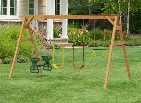 wooden swing set frame free standing a frame swing set play mor wooden swing sets