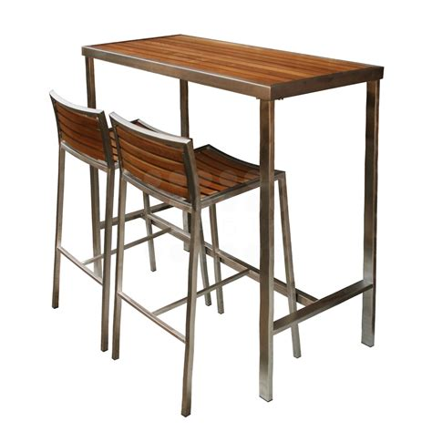 Evolve High Bar Table   Evolve Teak & Stainless Collection