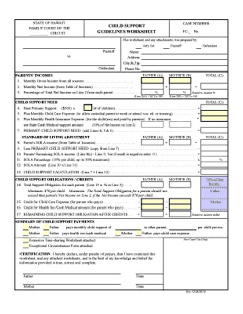 How To Fill Out A Child Support Worksheet by Fillable Hawaii Child Support Worksheet Divorce