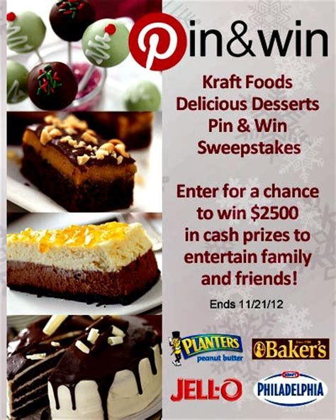 Sweepstakes That End Today - kraft foods delicious desserts pin win sweepstakes ends today 11 21 hurry eat