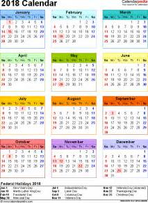 Calendar 2018 Singapore With Week 2018 Calendar With Federal Holidays Excel Pdf Word Templates