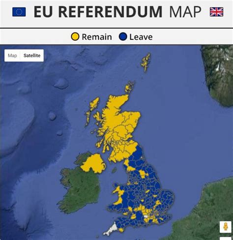 map uk leave remain eu referendum results did your area vote brexit or remain