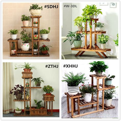 indoor outdoor garden wooden plant stand planter