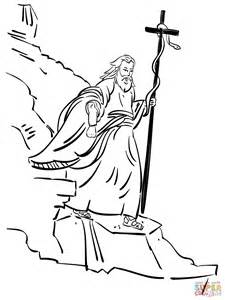 Dibujo de Moisés camina con una serpiente de bronce para
