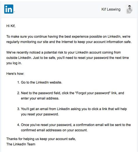 password reset notification email template here s why linkedin wants you to reset your password
