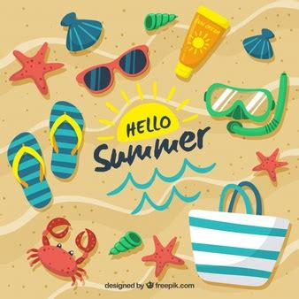 Marvelous Christmas Holidays In The Sun #2: Hello-summer-background-with-beach-elements_23-2147804921.jpg?size=338c