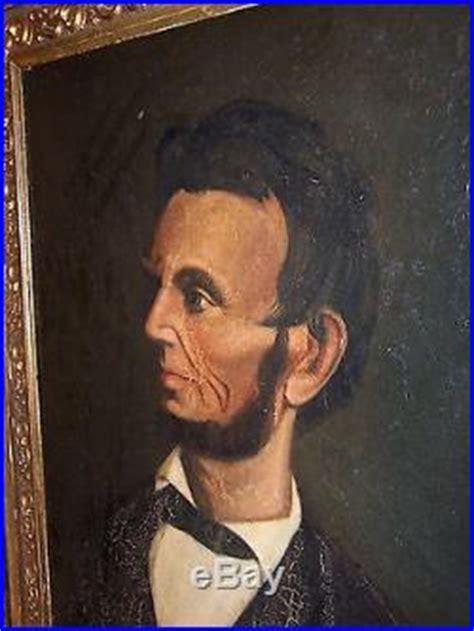1907 antique president portrait abraham lincoln fine art antique american folk art oil painting portrait president