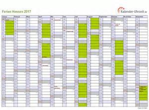 Kalender 2018 Hessen Kostenlos Ferien Hessen 2017 Ferienkalender Zum Ausdrucken