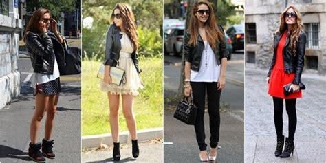 Jaket Kulit Style Cewe Semi Kulit inspirasi fesyen menggunakan jaket kulit hitam fesyen