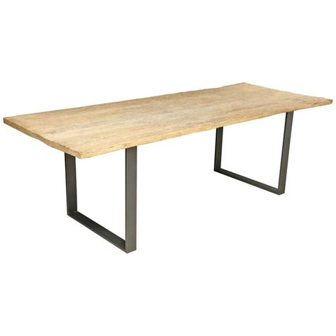 Large Wood Dining Table Large Reclaimed Elm Wood Dining Table With Steel Base At
