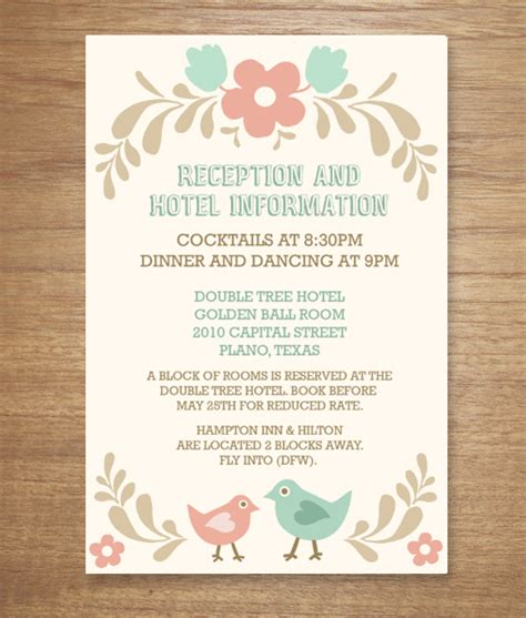 wedding reception card template folksy birds print