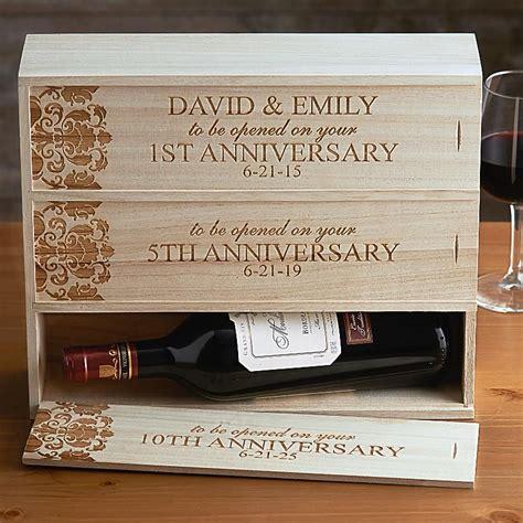 Wedding Anniversary Wine Box by Anniversary Wooden Wine Box Personal Creations Things