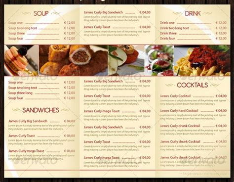 food menu template 30 food menus templates for caf 233 and restaurants ginva