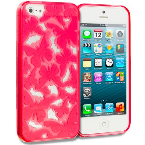 Floral Blink 3 Cover For Iphone 5 5s tpu 3d color butterfly flower rubber skin cover for