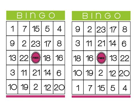 free number bingo card template business cards free templates printable business card sle