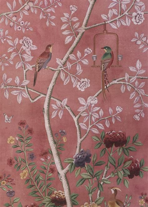 chinoiserie wallpaper dessin fournir companies beauport wp1202 chinoiserie wallpaper pink hand painted