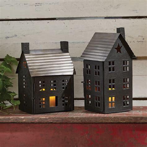 Glass House Lantern Small small primitive house candle lantern