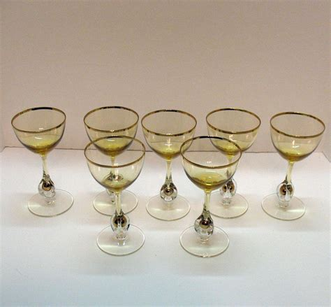 vintage cocktail set vintage set of 7 atlas liquor cocktail glasses golden ball