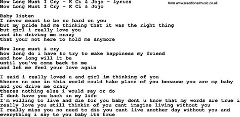 how long lyrics love song lyrics for how long must i cry k ci jojo
