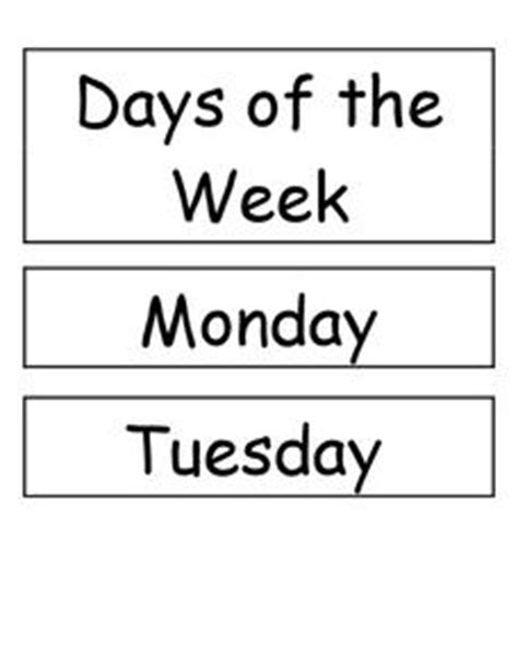 second day of week days of the week pre k 2nd grade printables template