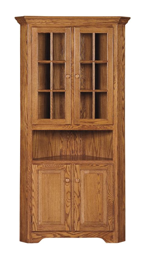 Corner Hutch Dining Room Furniture Shaker Corner Hutch Amish Furniture Connections Amish Furniture Connections