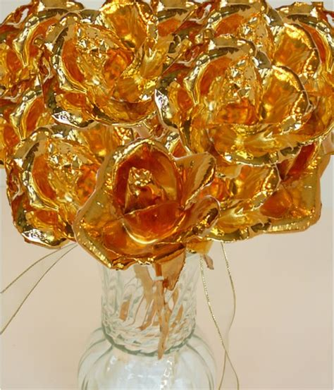Personalized Gifts For Women Dozen Gold Roses Gold Roses 24kt Gold Dipped Roses