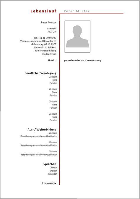 Lebenslauf Vorlage Modern by Lebenslauf Vorlagen Muster Kostenlose Word Vorlage