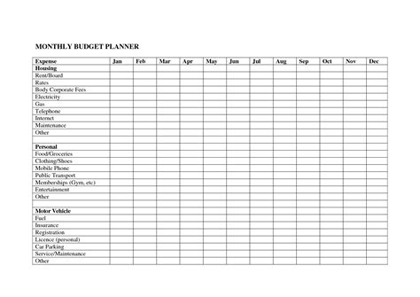 Printable Spreadsheet by 6 Best Images Of Printable Monthly Budget Spreadsheet