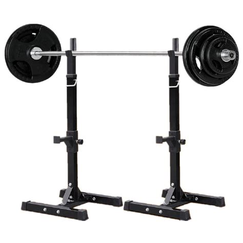 Barbell Rack Stand by 2 Adjustable Solid Steel Squat Barbell Stand Rack Free