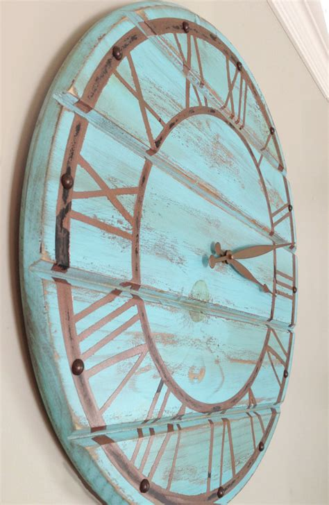 shabby chic blue wooden wall clock with faux by
