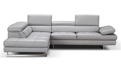Charming Free Church Chairs Furniture #7: J_m_aurora_premium_leather_sectional_sofa_in_light_grey_with_left_facing_chaise_-_front_view.jpg