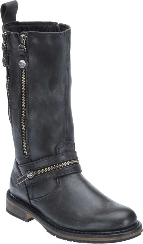 ladies black leather biker boots harley davidson women s sackett 10 75 in leather